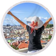 Lisbon Panorama Enjoying Round Beach Towel