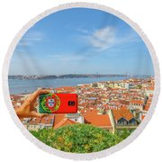 Lisbon Pictures Aerial Round Beach Towel