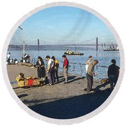 Lisbon Pier 4 Round Beach Towel