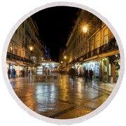 Lisbon Portugal Night Magic - Nighttime Shopping In Baixa Pombalina Round Beach Towel