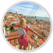Lisbon Tourist Viewpoint Round Beach Towel