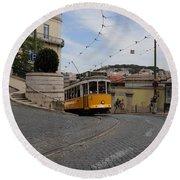 Lisbon Trolley 10 Round Beach Towel