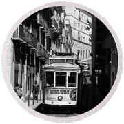 Lisbon Trolley 16b Round Beach Towel