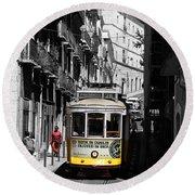 Lisbon Trolley 16c Round Beach Towel