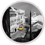 Lisbon Trolley 17c Round Beach Towel