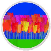 Lisse - Tulips Blue On Green Round Beach Towel