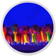 Lisse - Tulips Colors On Blue Round Beach Towel