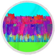 Lisse - Tulips Lighter Blue On Gree Round Beach Towel