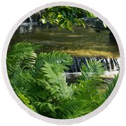 Listen To The Babbling Brook - Green Summer Zen Round Beach Towel