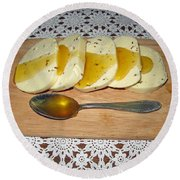 Lithuanian National Food. Cottage Cheese With Honey. Round Beach Towel