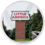 Little America Hotel Signage Vertical Round Beach Towel