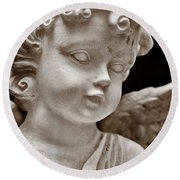 Little Angel - Sepia Round Beach Towel