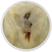 Little Angel In The Clouds Round Beach Towel