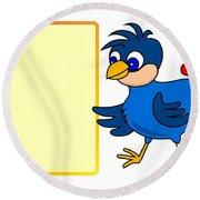 Little Bird With Message Board Round Beach Towel