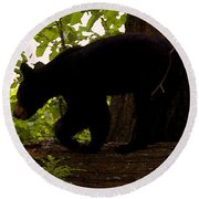 Little Black Bear Round Beach Towel