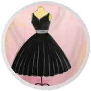 Little Black Dress Round Beach Towel