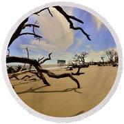Little Blue And Driftwood Beach Round Beach Towel by Lisa Wooten