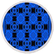 Little Blue Angels Abstract Round Beach Towel