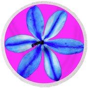 Little Blue Flower On Dark Pink Round Beach Towel