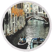 Little Boat In Venice Round Beach Towel