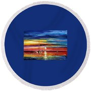 Little Boat Round Beach Towel