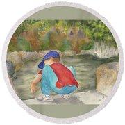 Little Boy At Japanese Garden Round Beach Towel