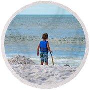 Little Boy Big Dreams Round Beach Towel