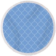 Little Boy Blue Quatrefoil Round Beach Towel