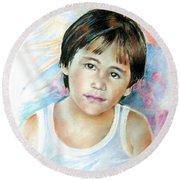 Little Boy From Tahiti Round Beach Towel