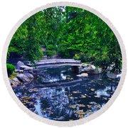 Little Bridge - Japanese Garden Round Beach Towel