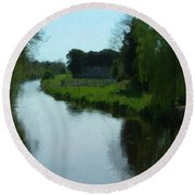Little Brosna River Riverstown Ireland Round Beach Towel