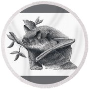 Little Brown Bat Round Beach Towel