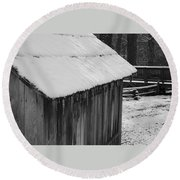 Little Brown Shed Round Beach Towel
