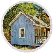 Little Cabin In The Country Pine Barrens Of New Jersey Round Beach Towel