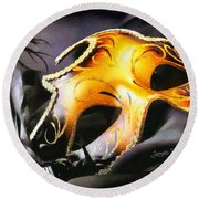 Little Carnival Mask Round Beach Towel