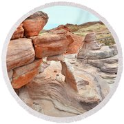 Little Castle Above Wash 3 In Valley Of Fire Round Beach Towel