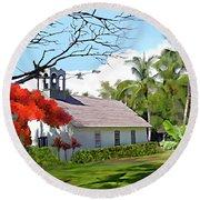 Little Church At Puako Big Island Round Beach Towel