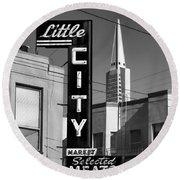 Little City Market North Beach San Francisco Bw Round Beach Towel