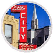 Little City Sign North Beach Round Beach Towel
