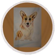 Little Corgi Round Beach Towel