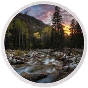 Little Cottonwood Creek Fall Sunset Round Beach Towel by James Udall