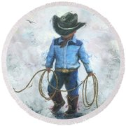Little Cowboy Lasso Round Beach Towel