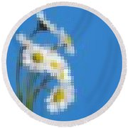 Little Daisies Round Beach Towel