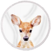 Little Deer Round Beach Towel by Amy Hamilton