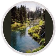 Little Deschutes Photograph Round Beach Towel
