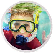 Little Diver Round Beach Towel