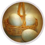 Little Egg Basket II Round Beach Towel