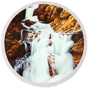 Little Firehole Falls Round Beach Towel