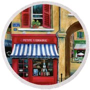 Little French Book Store Round Beach Towel