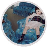 Little Girl In A Blue Armchair Round Beach Towel by Mary Stevenson Cassatt